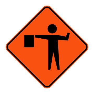 Flagger Ahead Sign