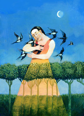 embrace swallows surreal romance illustration acrylic painting