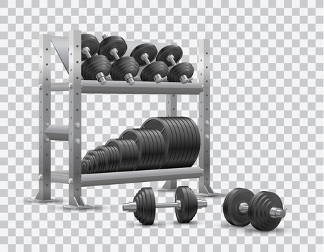Beautiful realistic fitness vector perspective view on transparent background of a storage shelf full of black iron weight barbell plates and of several black iron loadable dumbbels.