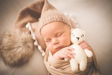 Portrait of a newborn sleeping boy with a toy