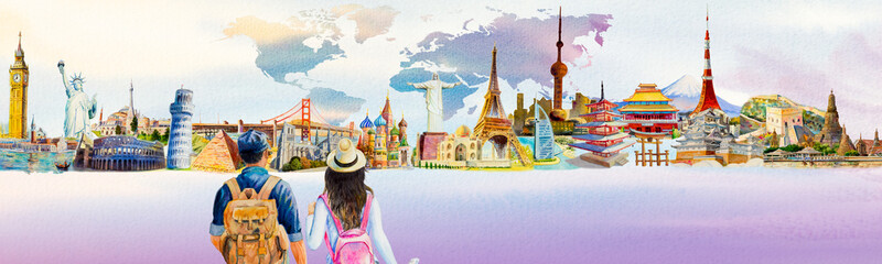 World travel and sights. Famous landmarks of the world.