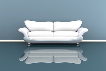 3d illustration of a white sofa in a grey room.