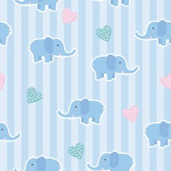 Cute elephant seamless pattern with blue color