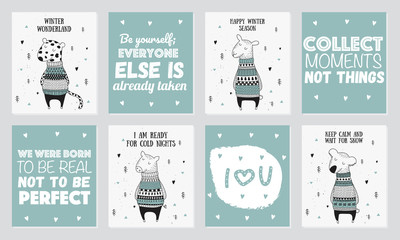 Vector postcard collection with cute winter animals in cozy sweater