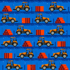 Photo sur Aluminium Route Seamless patterns with tractors. For decoration, wrapping, print or advertising.