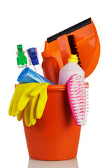 House cleaning, dishwashing and dusting gloves isolated on white