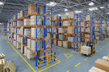 Forklift truck in warehouse or storage and shelves with cardboard boxes.