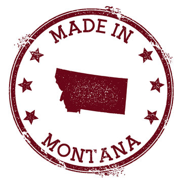 Made in Montana stamp. Grunge rubber stamp with Made in Montana text and us state map. Classic vector illustration.
