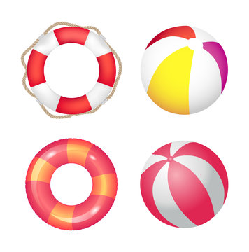 Inflatable Ring and Beach Ball Set Vector Banner