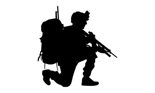 army silhouette when fighting combat