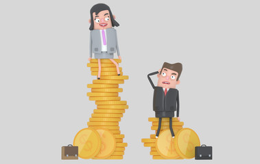 Gender wage difference concept. Business people sitting on top of pile of coins. Isolated.