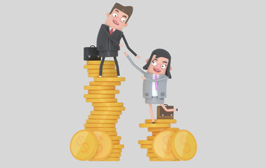 Income inequality concept. Man and woman climbing piles of coins. Isolated.