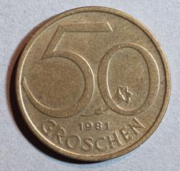 Former Austrian, Europe, Currency coin 50 Groschen.