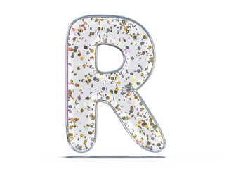 Letter R. Alphabet from transparent foil balloons. 3D