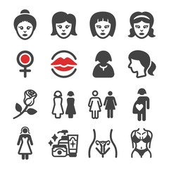 woman,female icon set,vector and illustration