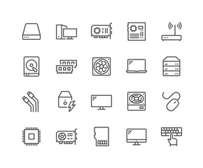 Fototapeta Simple Set of Computer Components Related Vector Line Icons. Contains such Icons as CPU, RAM, Power Adapter, Cables and more. Editable Stroke. 48x48 Pixel Perfect. obraz
