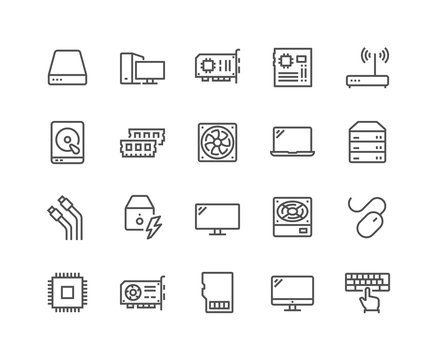 Simple Set of Computer Components Related Vector Line Icons. Contains such Icons as CPU, RAM, Power Adapter, Cables and more. Editable Stroke. 48x48 Pixel Perfect.