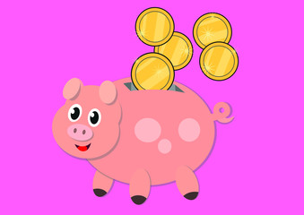 Happy piggy bank with golden coins rolling down isolated on pink background - vector illustration