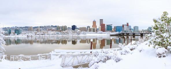 Wall Mural - Winter Landscape of Portland Oregon
