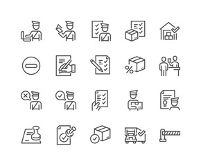 Obraz Simple Set of Customs Related Vector Line Icons. Contains such Icons as Declaration, Passport Control, Approve Stamp and more. Editable Stroke. 48x48 Pixel Perfect. - fototapety do salonu