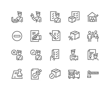 Simple Set of Customs Related Vector Line Icons. Contains such Icons as Declaration, Passport Control, Approve Stamp and more. Editable Stroke. 48x48 Pixel Perfect.