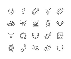 Simple Set of Jewelry Related Vector Line Icons. Contains such Icons as Earrings, Body Cross, Engagement Ring and more. Editable Stroke. 48x48 Pixel Perfect.