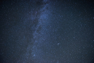 Blue colored. Milky way galaxy with stars and space dust in the universe. Photoed on the night sky