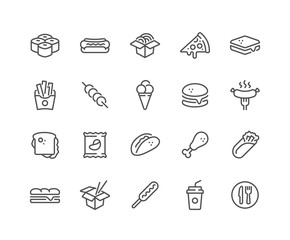 Photo sur Toile Snack Simple Set of Fast Food Related Vector Line Icons. Contains such Icons as Pizza, Tacos, Chips and more. Editable Stroke. 48x48 Pixel Perfect.