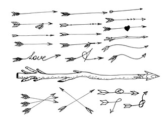A set of hand-drawn arrows and pointers.