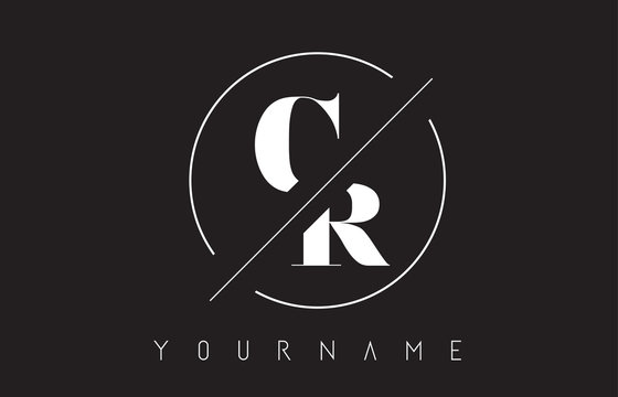 CR Letter Logo with Cutted and Intersected Design