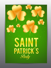 Elegant greeting card design with creative shiny text Happy St. Patrick's Day on green background. - Vector