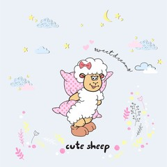 Vector cute cartoon walking sleeping sheep with clouds,stars, heart, hand drawn imitation, drawn with a tablet, fairytale, isolated