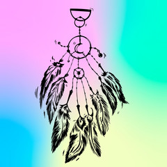 Vector illustration of dream catcher. Ethnic art with native American Indian boho design, mystery symbol, tribal gypsy poster or card. Vector illustration