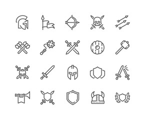 Simple Set of Archaic War Related Vector Line Icons. Contains such Icons as Helmet, Sword, Shield and more. Editable Stroke. 48x48 Pixel Perfect.
