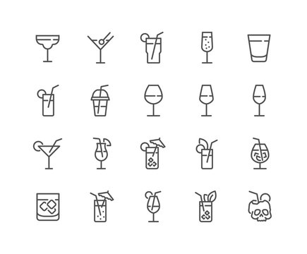 Simple Set of Cocktail Related Vector Line Icons. Contains such Icons as Rock, Martini, Champaign Glass and more. Editable Stroke. 48x48 Pixel Perfect.