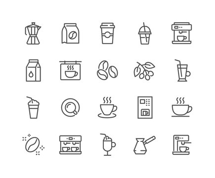 Simple Set of Coffee Related Vector Line Icons. Contains such Icons as Cezve, Coffee Maker Machine, Beans and more. Editable Stroke. 48x48 Pixel Perfect.