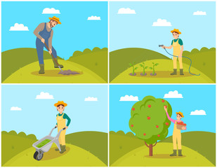 Farmer with Basket and Apples Vector Illustration