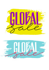 Bright Concept of Offer Promotion. Colorful Banners of Global Sale. Vector Handwritten Advertising Illustration