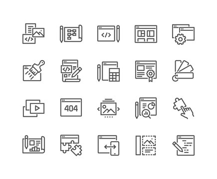 Simple Set of Web Development Related Vector Line Icons. Contains such Icons as Content, Image Gallery, Layout Settings and more. Editable Stroke. 48x48 Pixel Perfect.