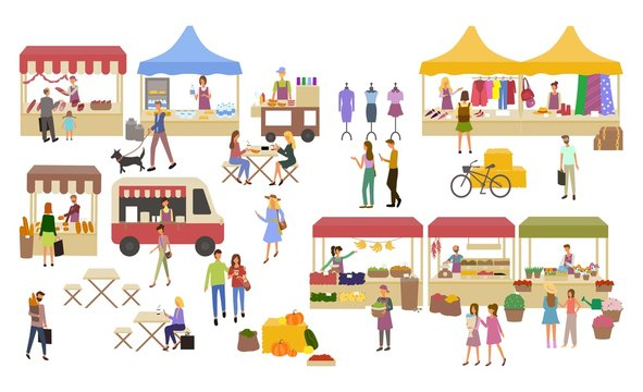 Marketplace, Stalls of Sellers and Shopping People