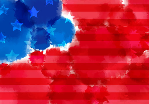 Colorful Banner with Watercolor Splash. Abstract American Flag Texture. Red and Blue Colored Banner Design