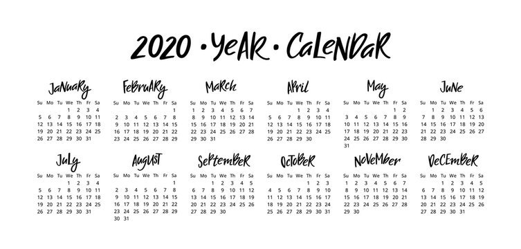 Vector Calendar Planner for 2020 Year with Handwritten Lettering Months.Stationery Design Isolated on White Background.