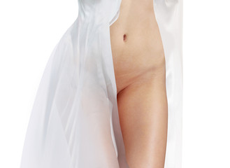 Fotorolgordijn Akt body in white dress isolated