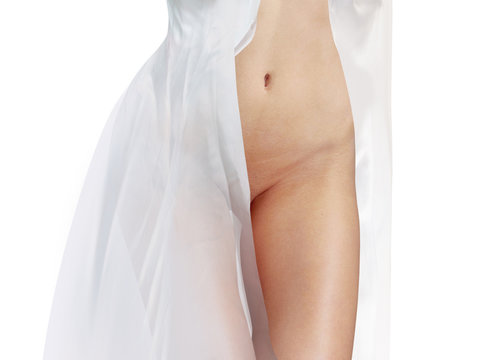 body in white dress isolated