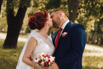 Sensual wedding photo in the Park.Gentle couple