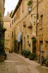 Gassen in Pienza, Toskana