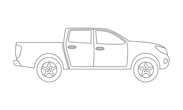 Pickup truck outline icon. Side view. Pick-up car or vehicle silhouette. Vector illustration.