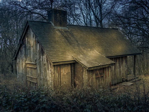 Spooky and creepy abandoned house in the woods