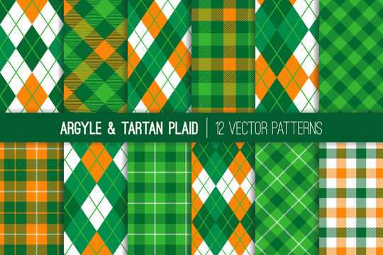 Irish Green, Orange, White Argyle and Tartan Plaid Vector Patterns. St Patrick's Day Backgrounds. Golf Theme Event Party Decor. Preppy Fashion Textile Prints. Repeating Pattern Tile Swatches Included.