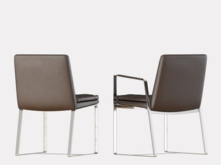 Two chairs brown leather on a white background 3d rendering
